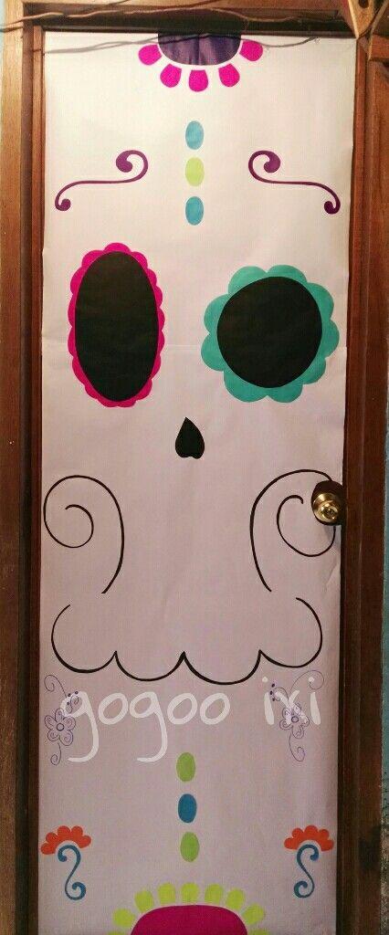 Puerta deco calaverita de azucar d a de muertos for Decoracion de puertas de dia de muertos