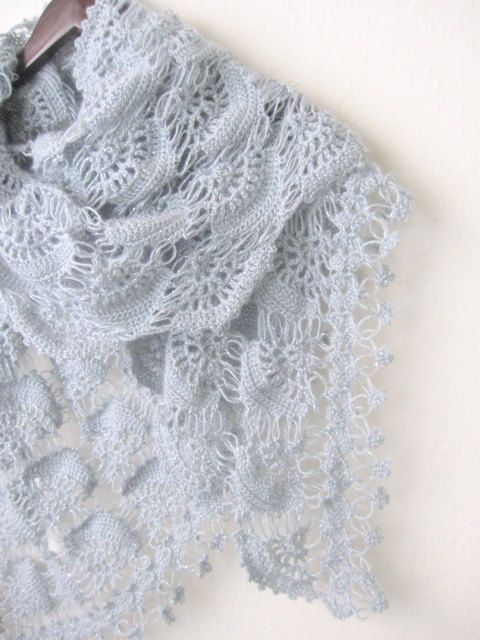 Crochet Hand Silver Glitter GREY Shawl.. | estolas y ponchos ...