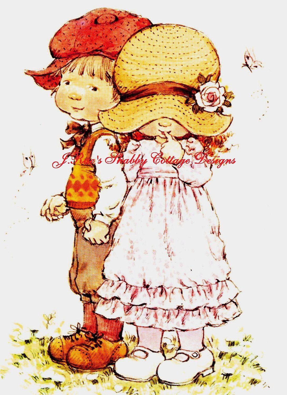 Vintage Repro on Colorfast Treated Fabric Holly Hobbie Has A Cute Little Boyfriend Fabric Block 8x10. $15.00, via Etsy.