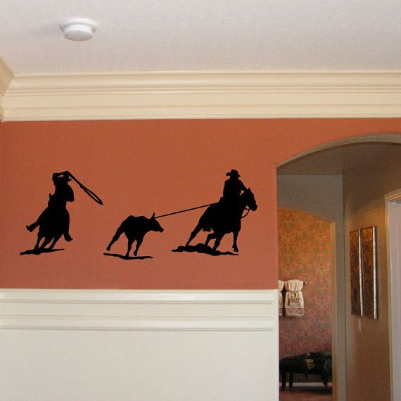 Cowboy Wall Decal Western Wall Decor Cowboy Roping Silhouette Western Decor Rodeo Wall Art Boys Bedroom Wall Vinyl Lettering Ec4801 Western Wall Decor Cowboy Wall Art Western Decor
