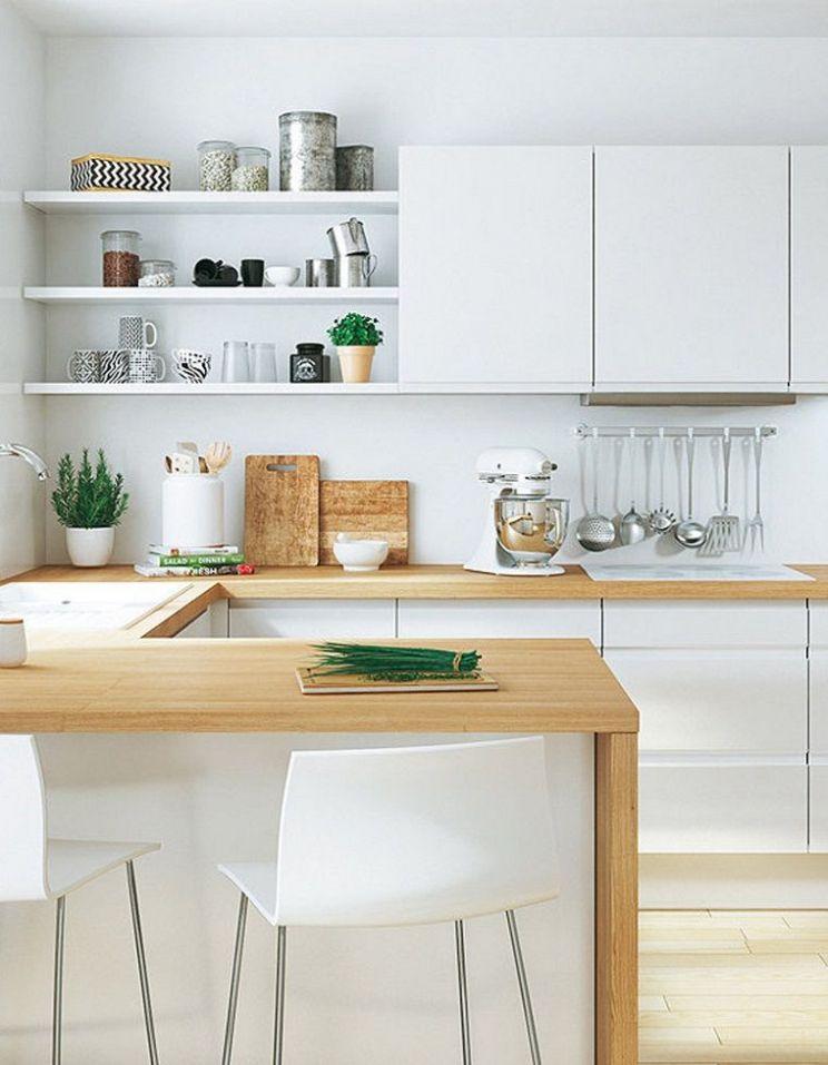 Cucina Bianca Con Top Legno Idee Cucine Moderne Piccole ...