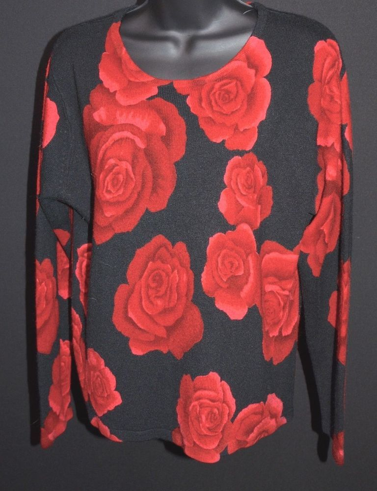 Cathy Daniels Red Roses On Black Long Sleeve Sweater Size M 100