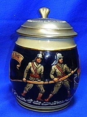 Vintage German Lidded Beer Stein Tin Top Firefighter
