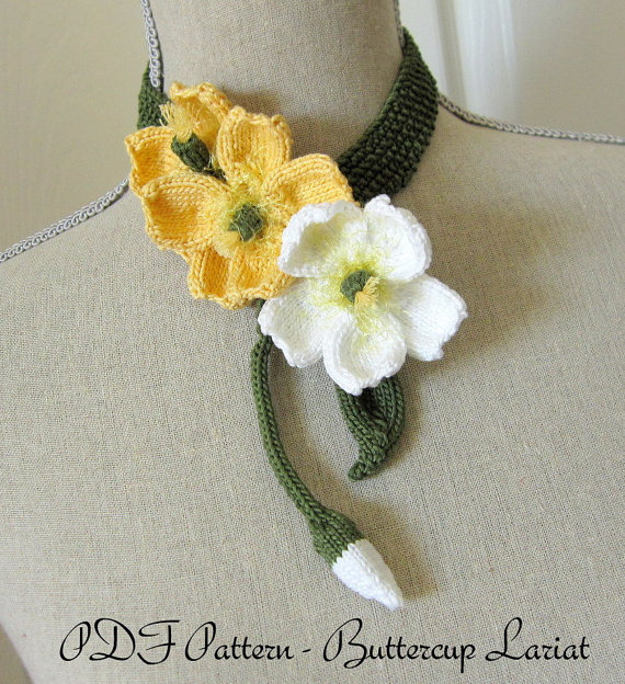 Pdf Knit Flower Pattern Buttercup Lariat By Ohmay On Etsy Knitting