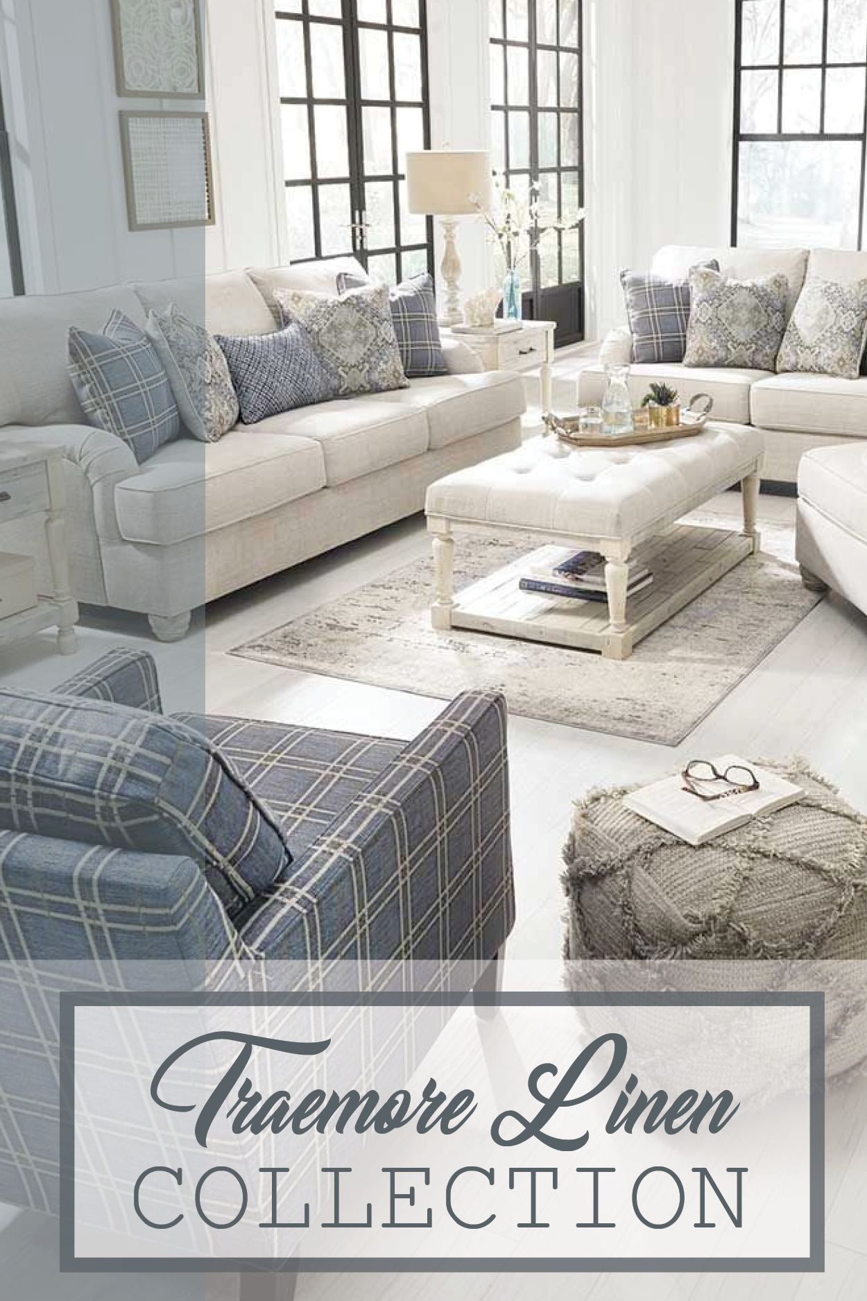 The traemore linen upholstery collection from benchcraft by ashley furniture offers a modern day farmhouse look with a relaxed laid back approach