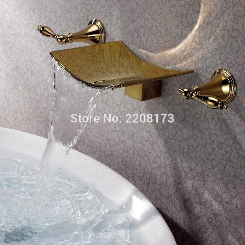 High Quality Gold Finish Waterfall Spout Tub Faucet Wall Mount 3 ...