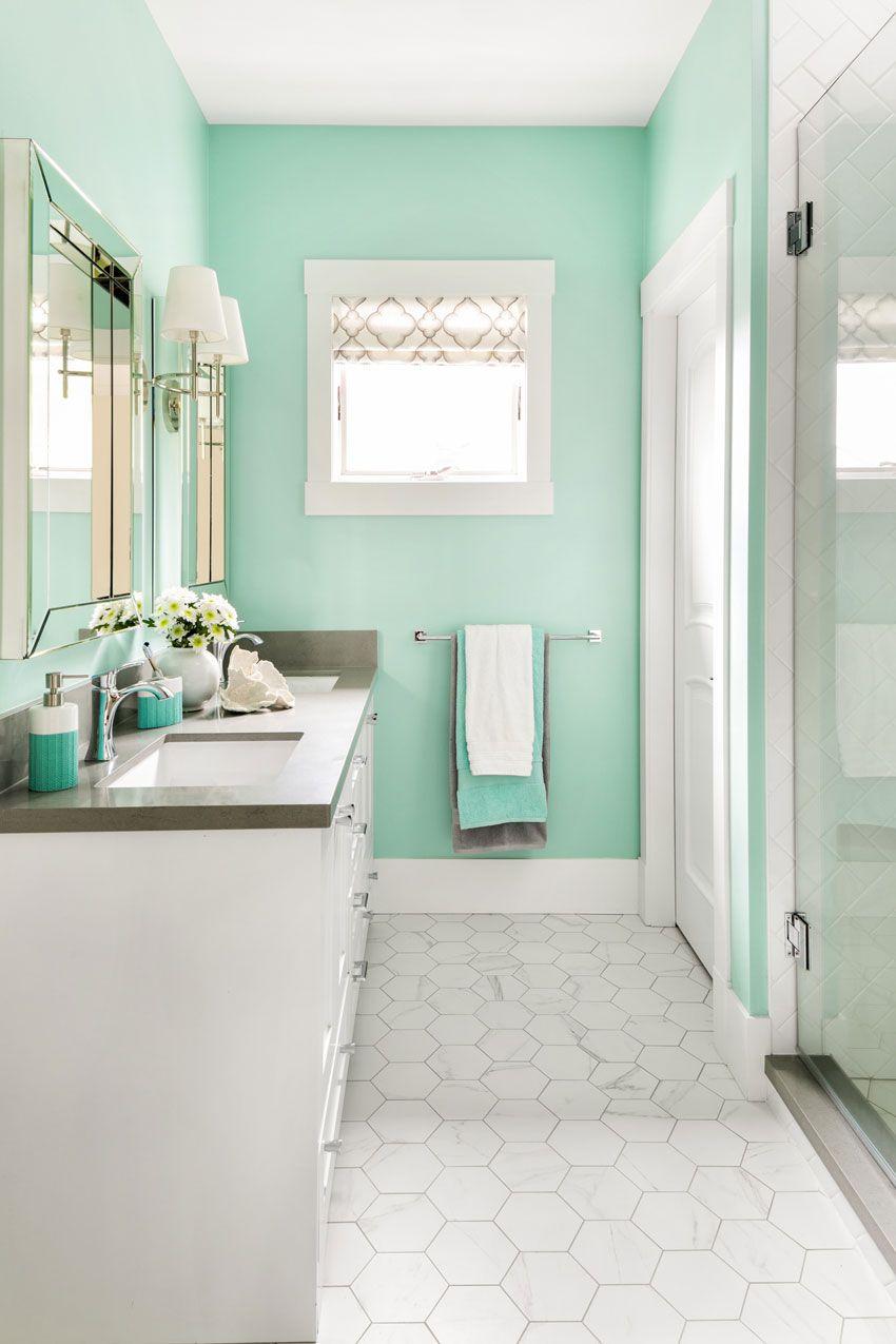 Turquoise Kids Bathroom; Before & After - Maria Killam | Kid ...