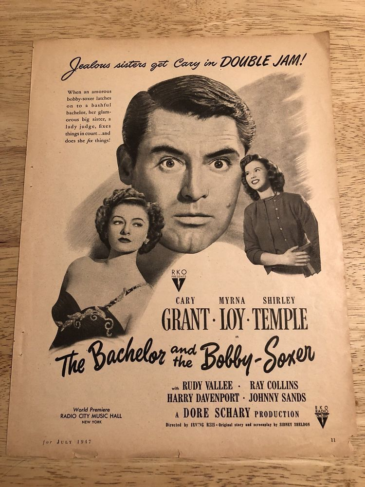 THE BACHELOR & THE BOBBY-SOXER Cary Grant, Shirley Temple Vtg 1947 Movie Ad