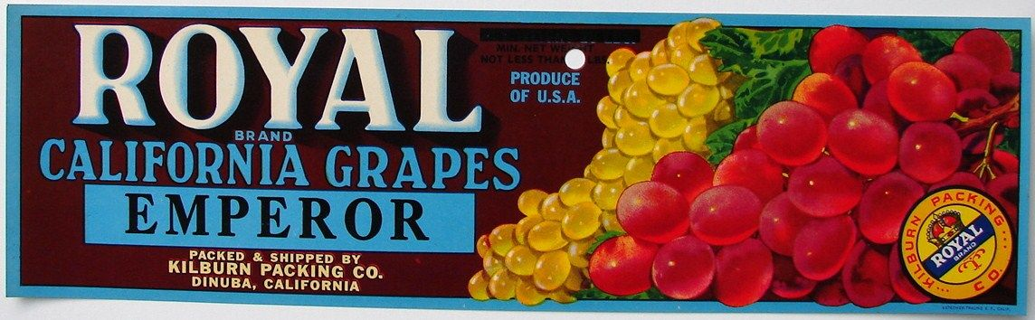 Royal vintage dinuba grape crate label hole fruit