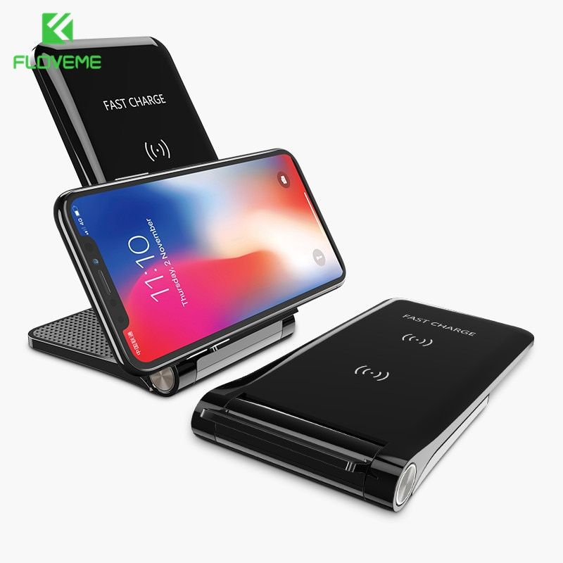 Floveme Qi Fast Wireless Charger For Samsung S9 S8 Plus S7 Charger 10w Charging Pad Stand Phone Charger For Iphone X 8 Charge Phone Wireless Charger Samsung S9