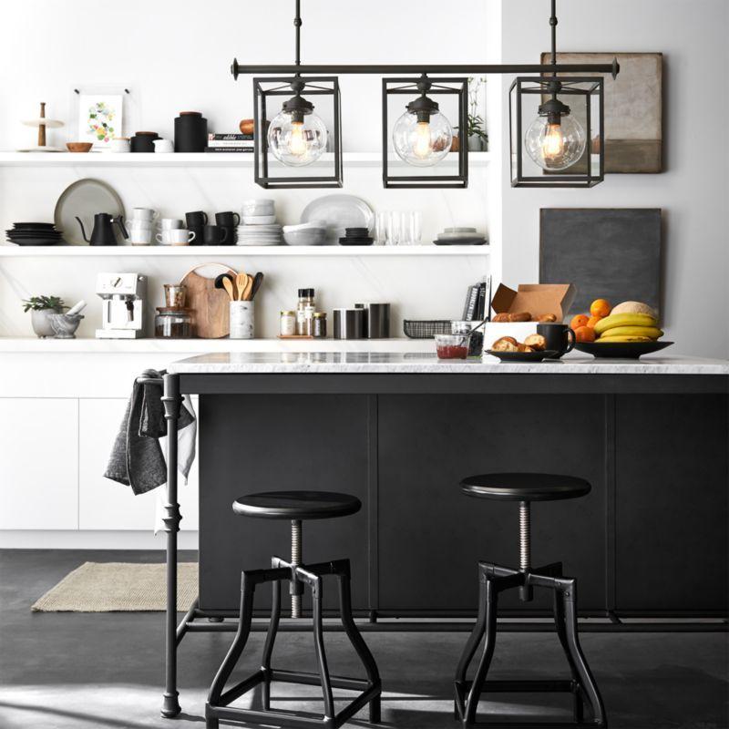 Turner Black Adjustable Backless Bar Stool French Kitchen