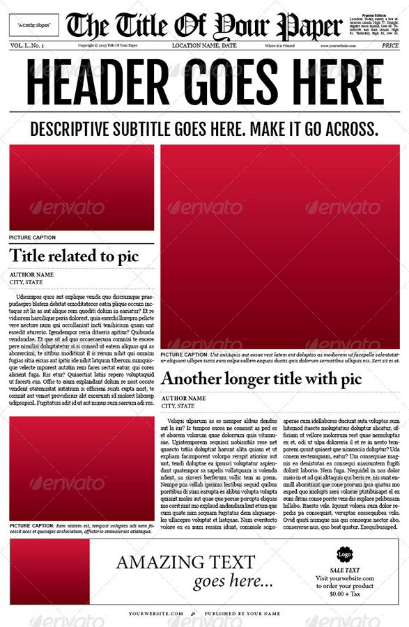 Old Style Newspaper Template Template, Newsletter ideas and - newspaper headline template