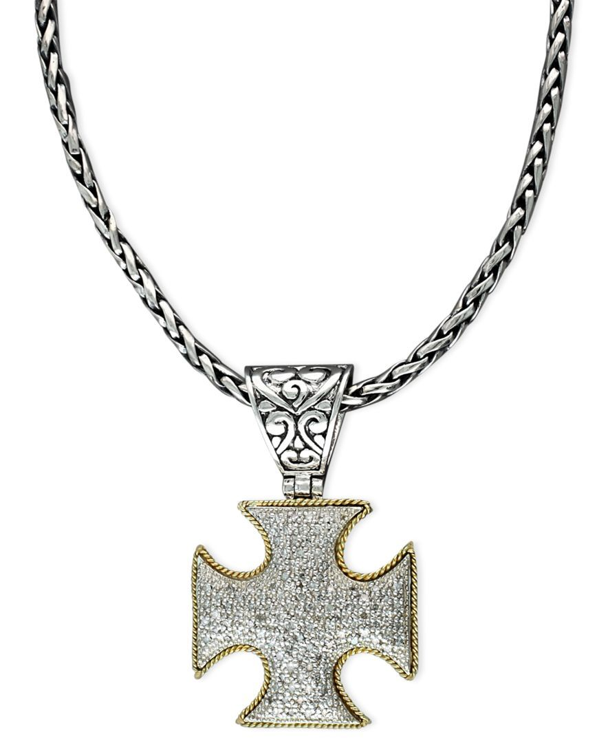 10e1071b8e9 Balissima by EFFY Diamond Cross Pendant (1 2 ct. t.w.) in 18k Gold and Sterling  Silver - Necklaces - Jewelry   Watches - Macy s