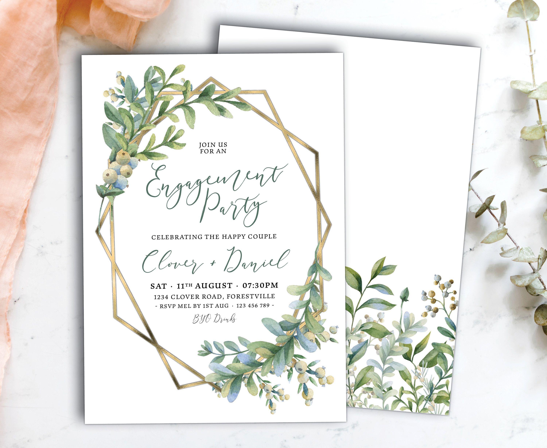 Greenery Gold Engagement Invitation Olive Branch 001 Engagement Party Invitation Template DIY Engagement Invitation Card