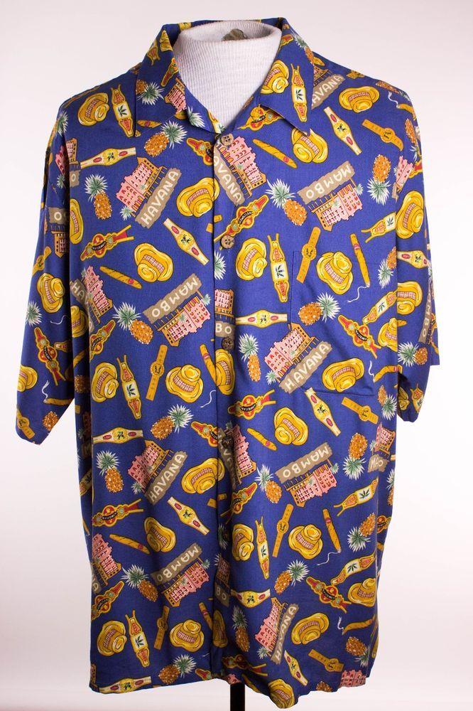 6ba8c8826019 Joe Kealoha Mens XL Blue Havana Cigar Beach Camp Hawaiian Shirt Rayon   JoeKealoha  Hawaiian