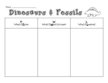 Engage Students In Dinosaurs And Fossils Kwl Charts  Geronimo