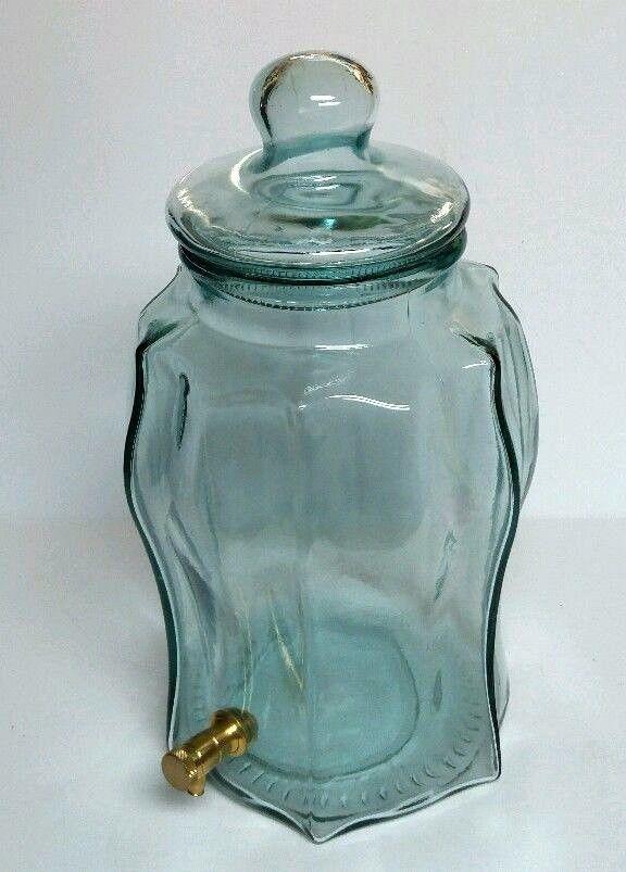 Vintage Green Aqua Glass Brass Water Dispenser Jug Jar Spigot Made In Italy Aqua Glass Vintage Green Aqua Green