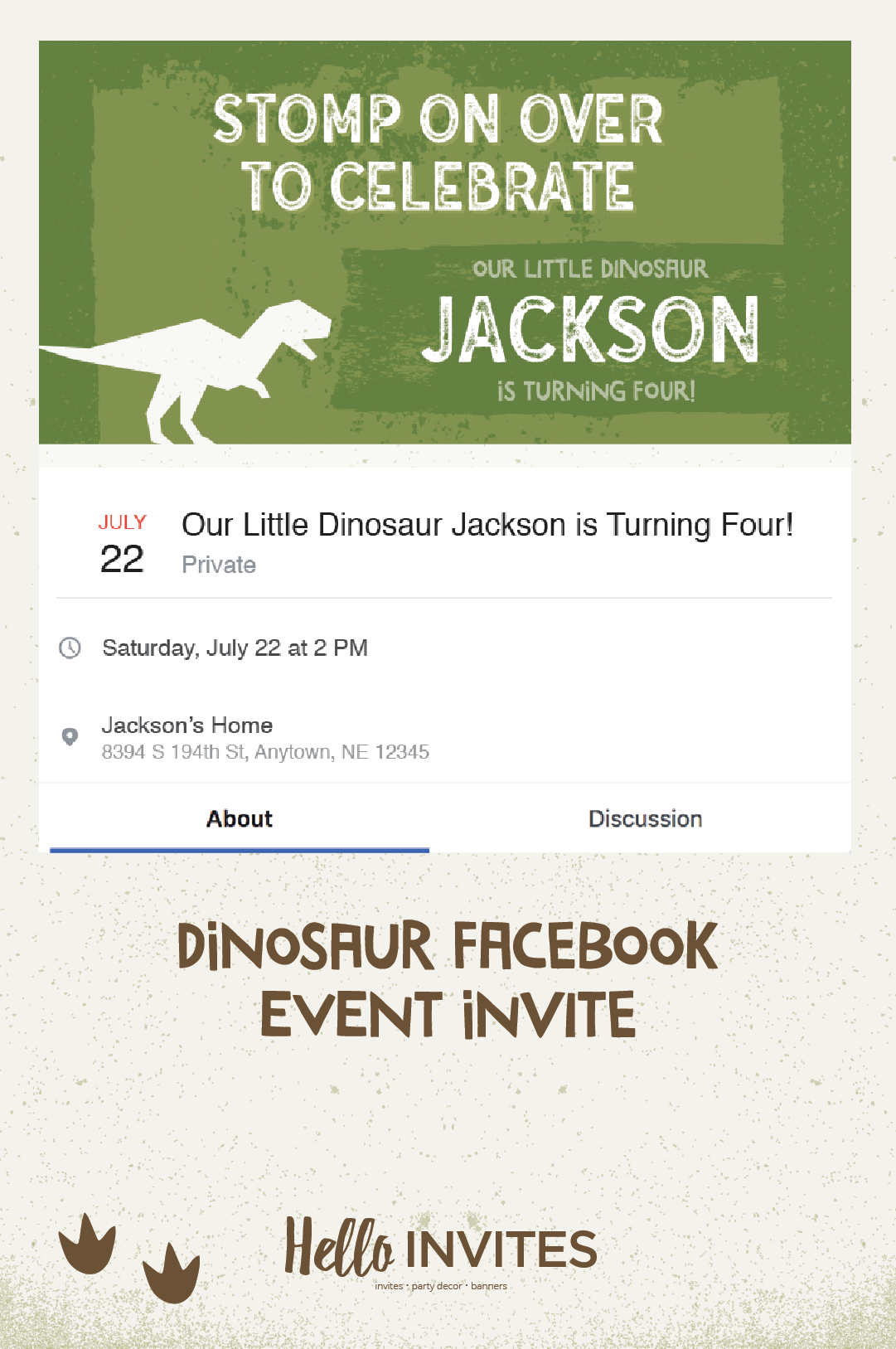 Dinosaur Birthday Facebook Event Invitation Green Brown Dirt Boy Roar Stomp On Over Invite Digital