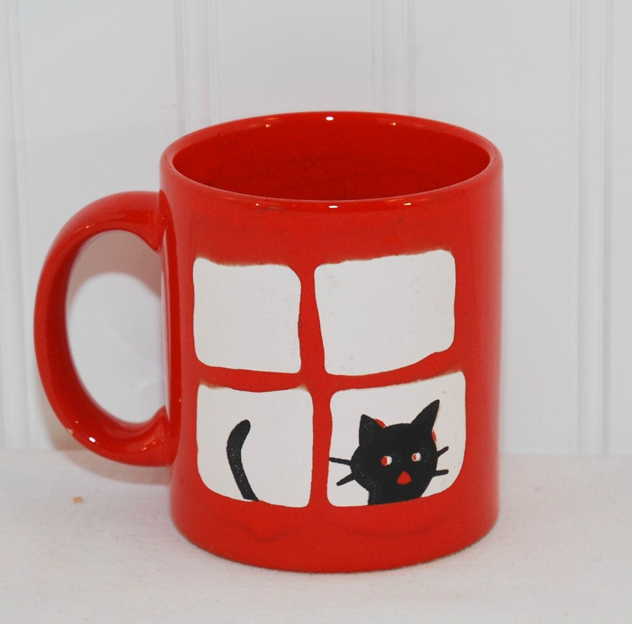 Vintage Waechtersbach Germany Red Coffee Mug With Black Cat Etsy Mugs Cat Mug Black Cats Rock