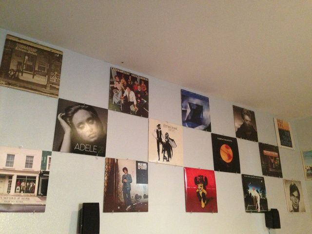 Turn Your Records Into Wall Art With A Simple Strip Of J Trim Record Wall Decor Record Wall Display Apartment Wall Decor