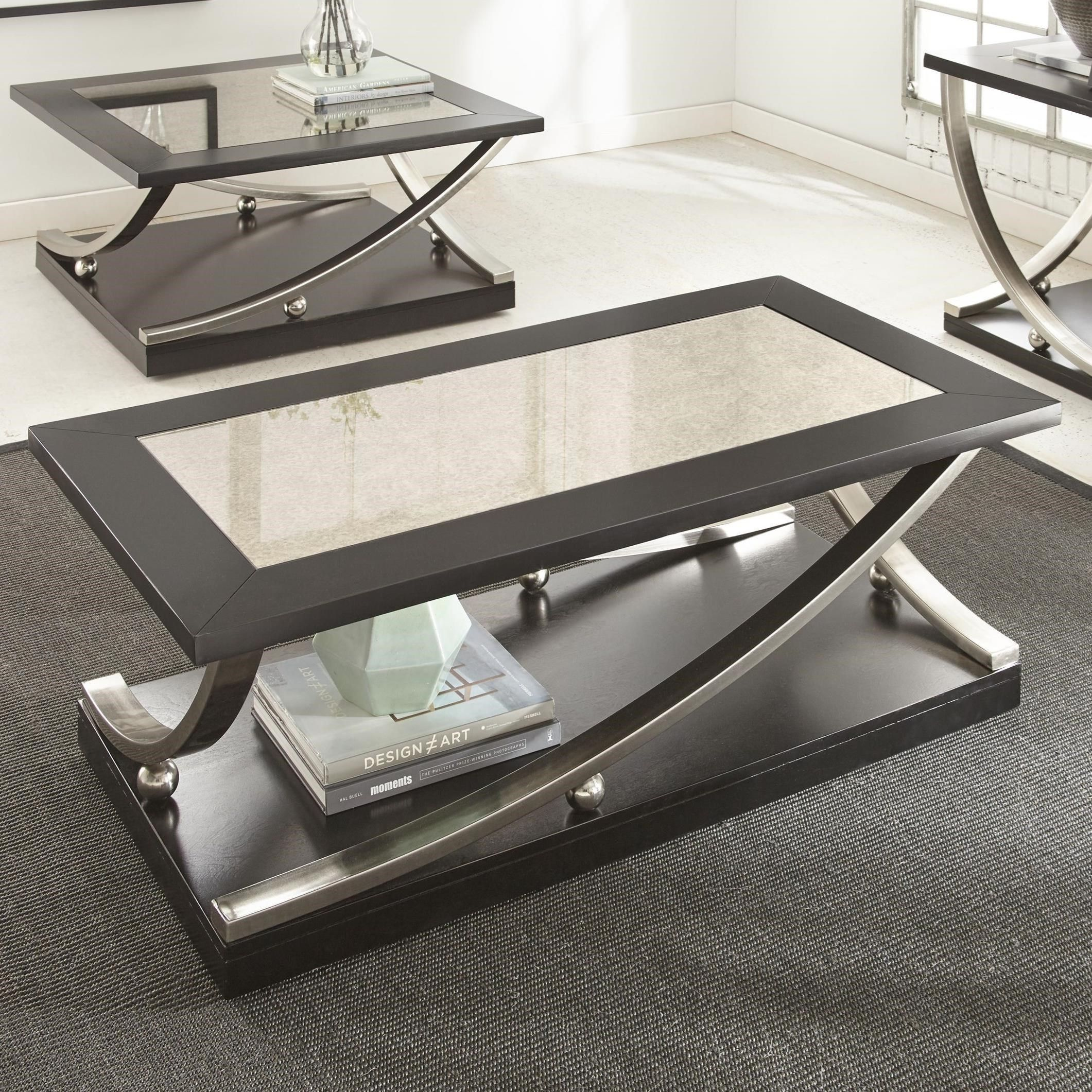 Ramsey Rectangle Cocktail Table With Hidden Caster And Antique Mirror Top By Steve Silver At Darvin Furniture Coffee Table With Casters Coffee Table Rectangle Cocktail Table [ 2121 x 2121 Pixel ]