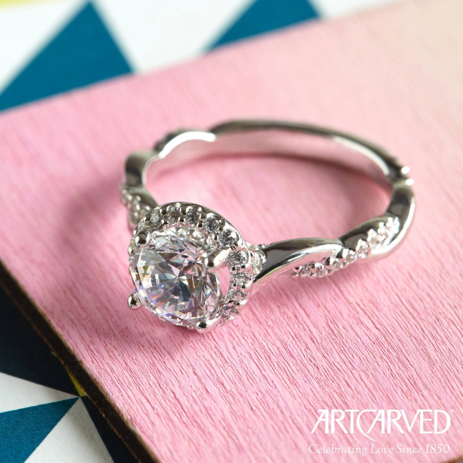 Shine Bright Like a Diamond in this Halo Engagement Ring ...