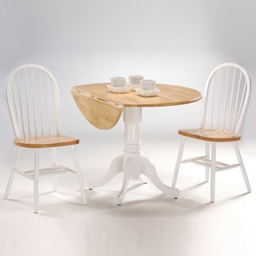 Dining Essentials White And Natural 42 Inch Dual Drop Leaf Table With Two Windsor Chairs
