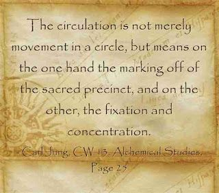 The circulation is not merely movement in a circle, but means on the one hand the marking off of the sacred precinct, and on the other, the fixation and concentration. ~Carl Jung, CW 13, Page 25.