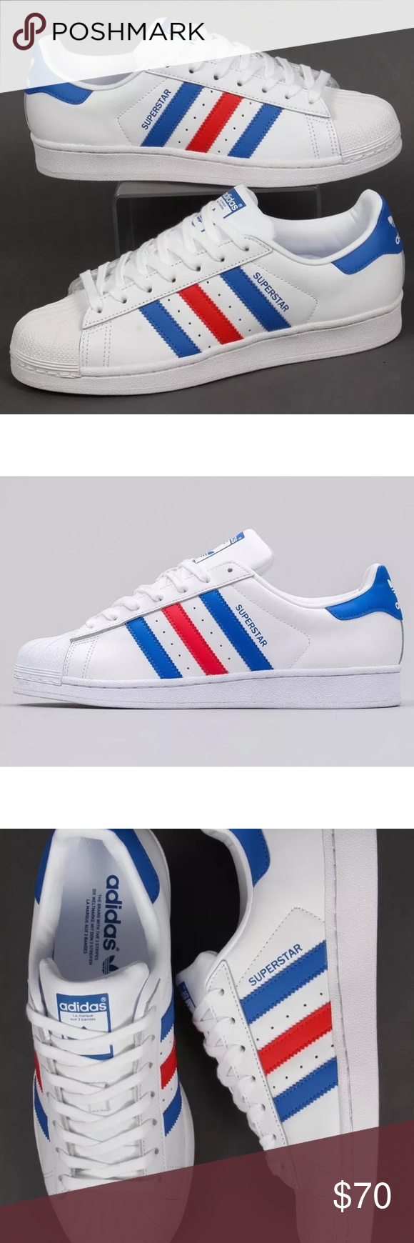 buy online 593e6 f91b4 Adidas Classic Superstar All white with Red and Blue stripes. Brand New in  Box! Never worn! Mens size 13. adidas Shoes Sneakers