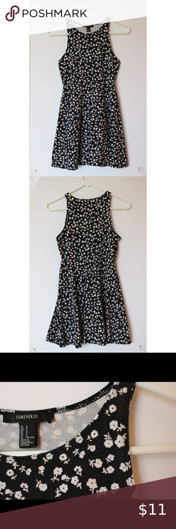 Forever 21 Black Dress With White Flowers Size S This Dress Is Super Comfy And Stretchy 95 Cotton And 5 Sp Forever 21 Black Dress Comfy Dresses Black Dress [ 1740 x 580 Pixel ]