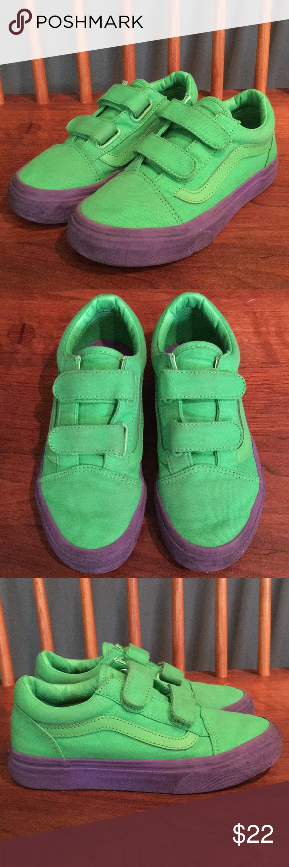 VANS TODDLER OLD SKOOL VELCRO old school sneakers baby vans station wagons VN0A344KQ7M green [216 Shinnyu load]