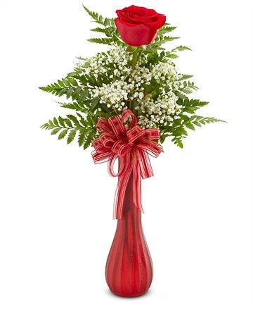 Babys Breath With A Red Tapered Candle Single Rose Bud Vase 17