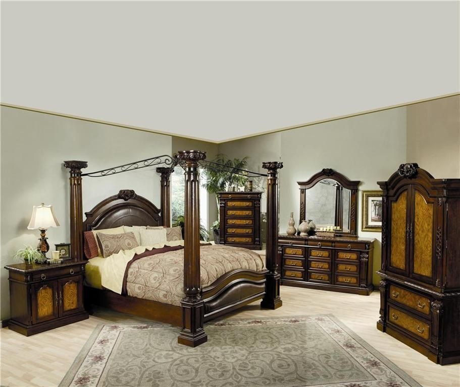 201201set Montecito Chestnut Wood Upholstered Accents Queen Canopy