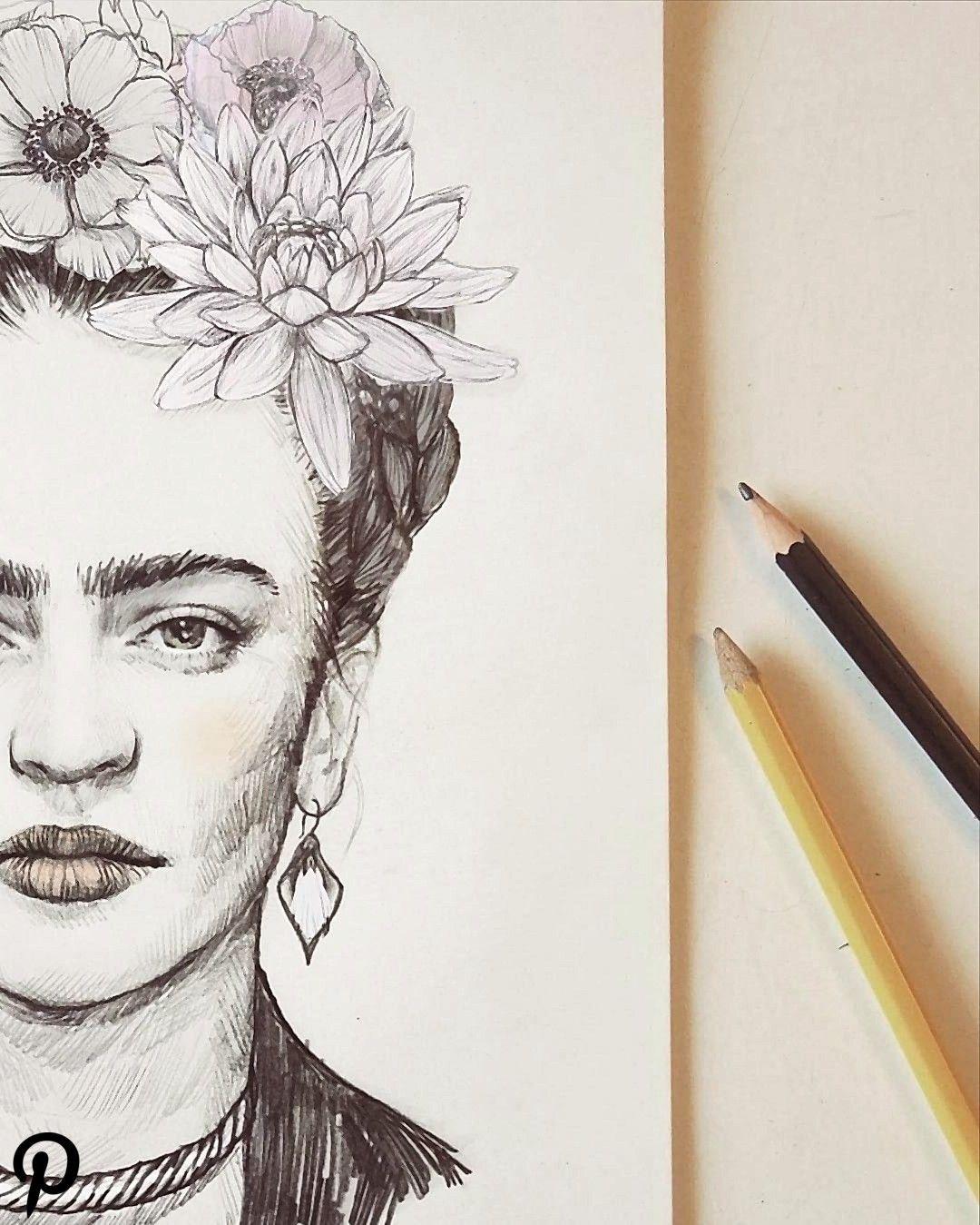 Pencil Portrait Of Frida Kahlo