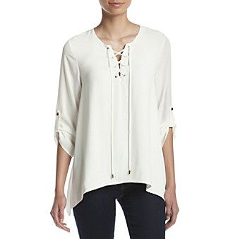 Calvin Klein Lace Up Roll Tab Blouse