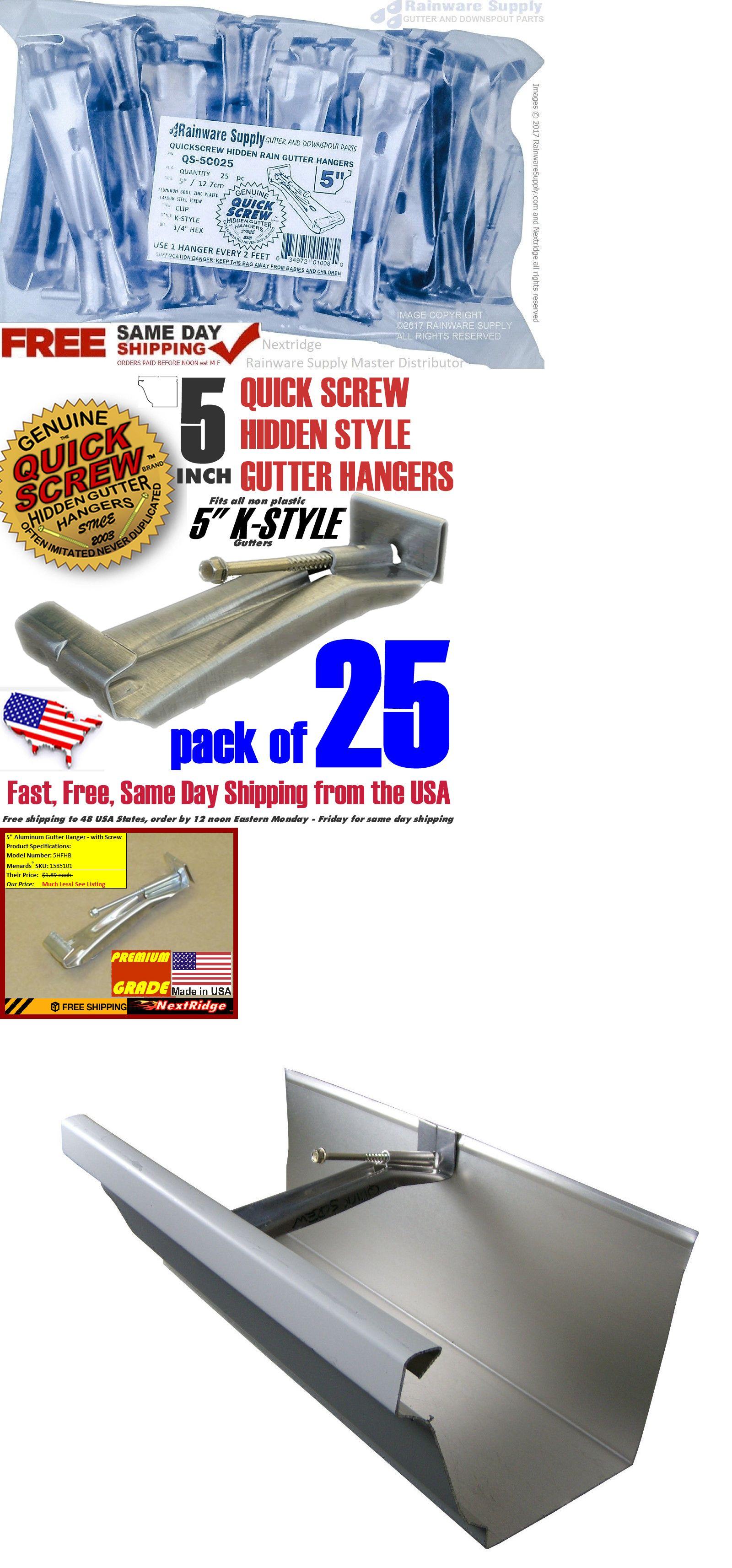 Details About 25 Gutter Hangers Quick Screw 5 Inch Aluminum Hidden Rain Bracket Hook Clip Gutter Repair Hanger