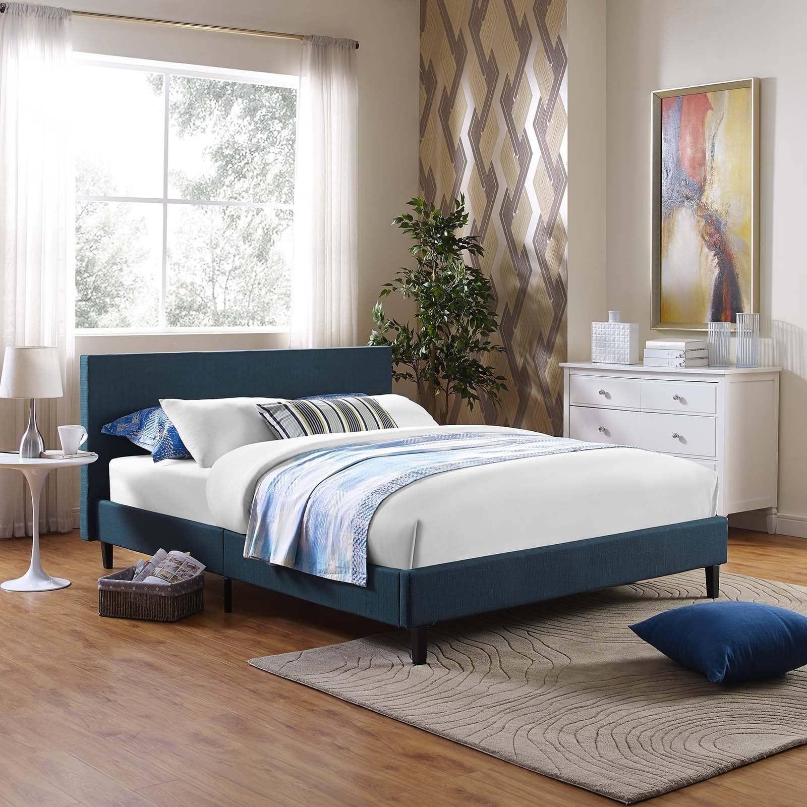Anya Fabric FullSize Platform Bed Affordable bed frames
