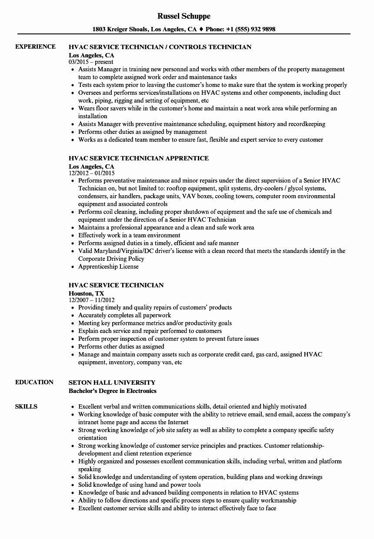 Lube Technician Job Description Resume Awesome Hvac Service Technician Resume Samples Job Description Resume Teacher Resume Examples