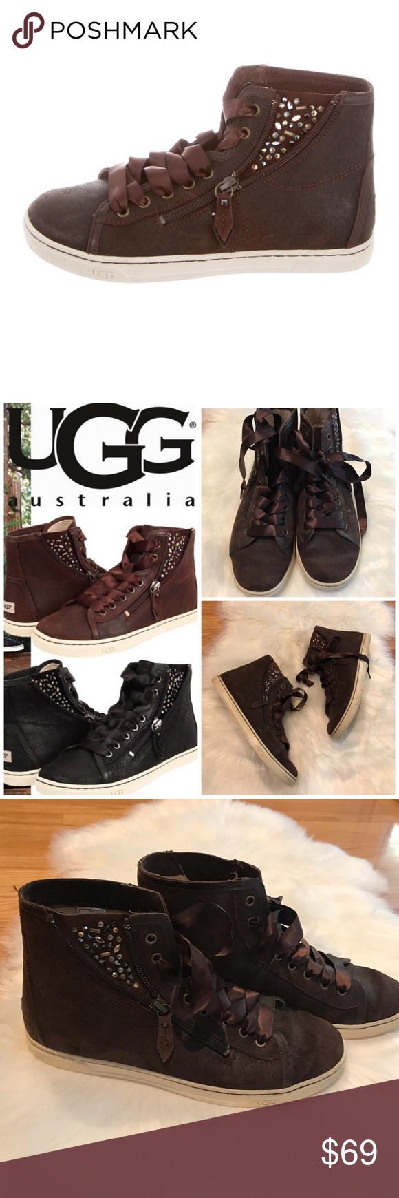 10aad8e4121 UGG 9.5 Blaney brown rhinestone high top sneakers Very good ...