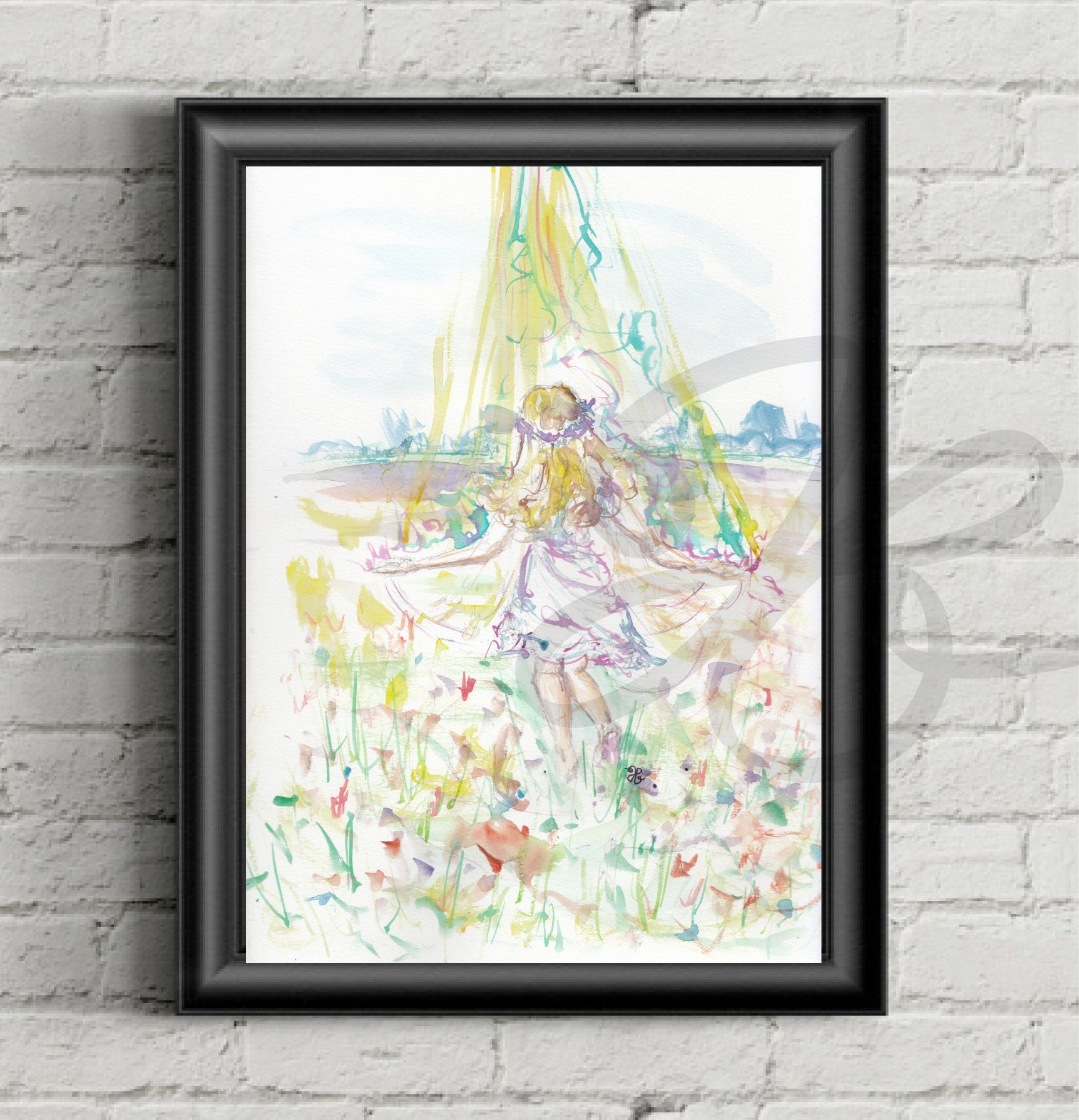 Psalm 40 3, Girl Dancing, Flower Field Canvas, Print, Bible