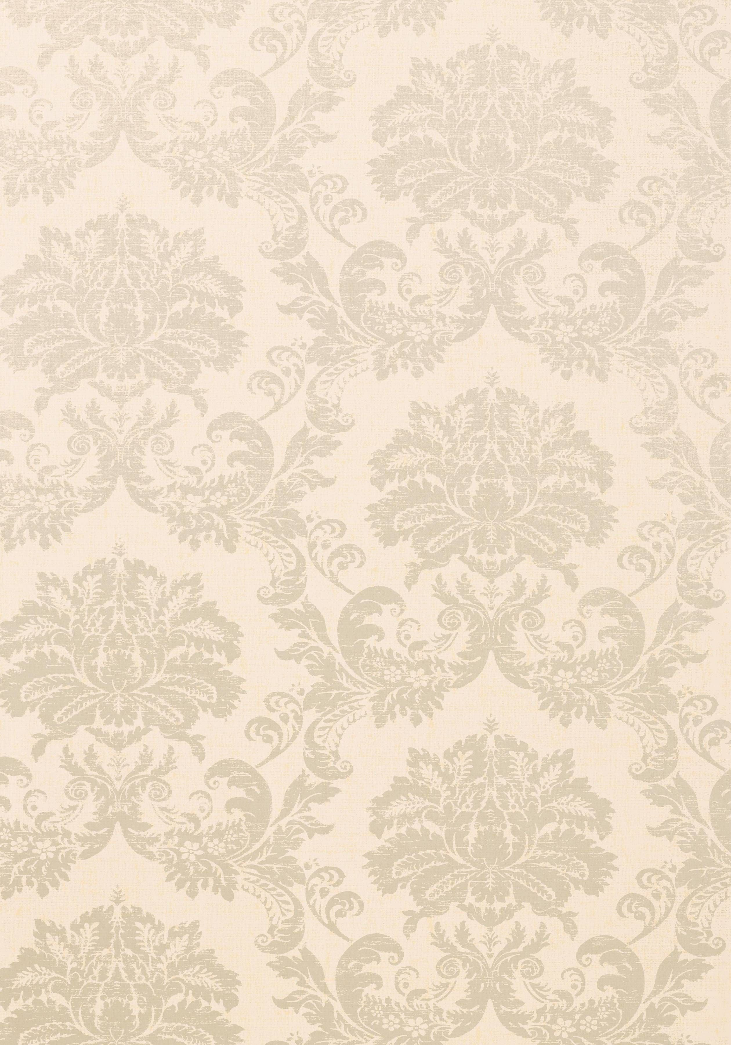 SYMPHONY DAMASK, Metallic Pearl on White, T7634