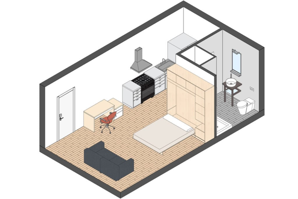 micro apartments minimum apartment size nyc · fontan