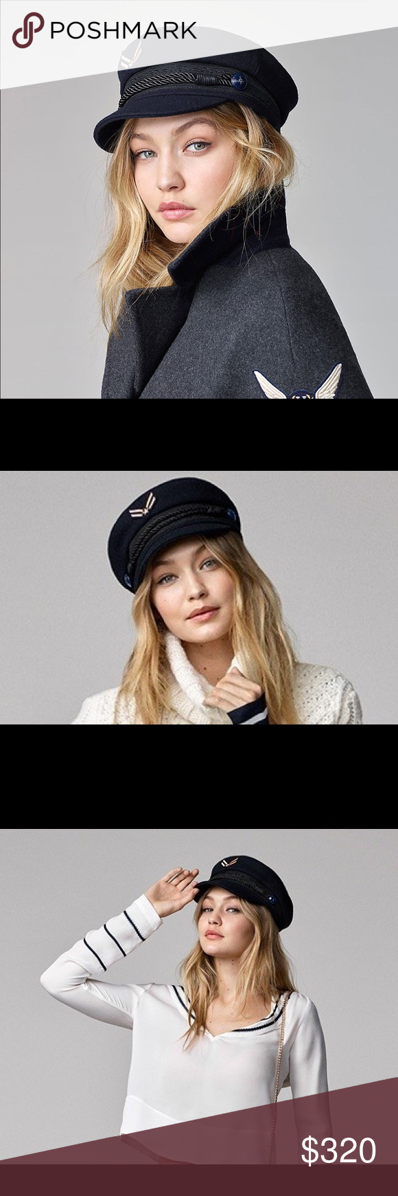 34e3e7a8 Gigi Hadid x Tommy Sailor Cap RARE Gigi Hadid Tommy Hilfiger Wool nautical  hat. Navy Blue. Brand new without tags. Sold out everywhere. Iconic hat!