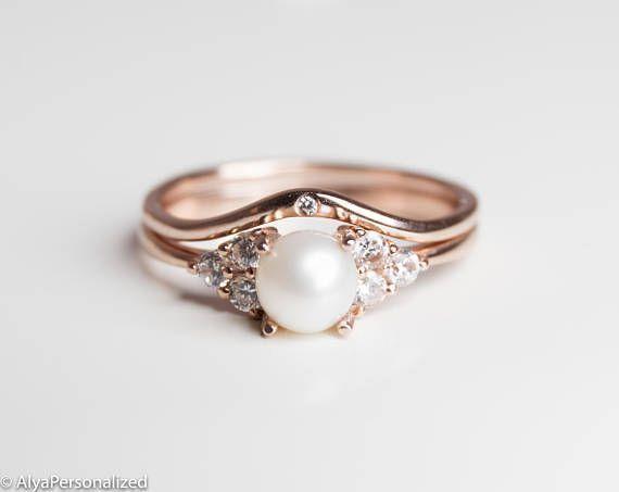 14k Rose Gold Engagement Ring Pearl Engagement Ring ...