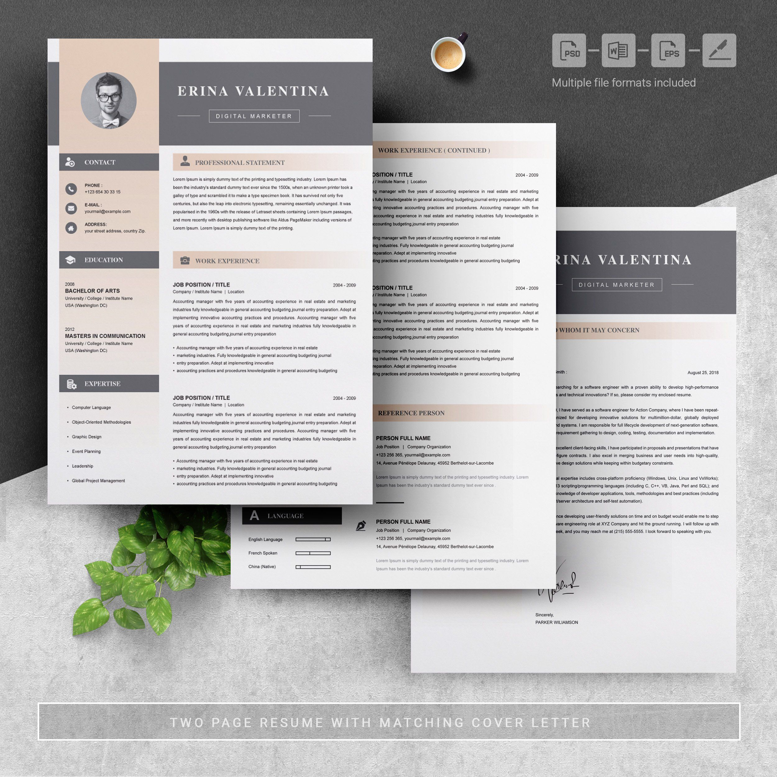 Resume / CV with Cover Letter #Ad , #Ad, #amp#titles#COLOR ...