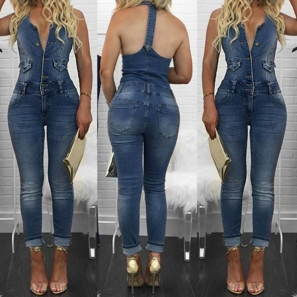 Womens Ladies Girls Dungarees Monika Jumpsuits Stretch Denim Jeans Short Dress