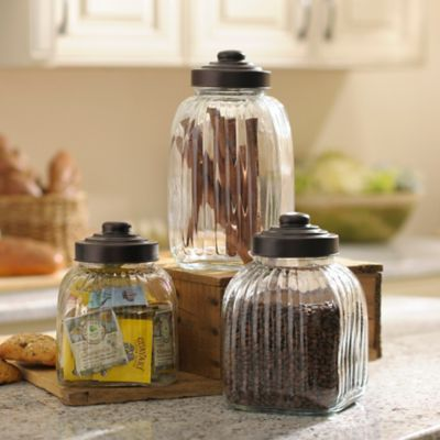 Fluted Bronze Canisters, Set Of 3