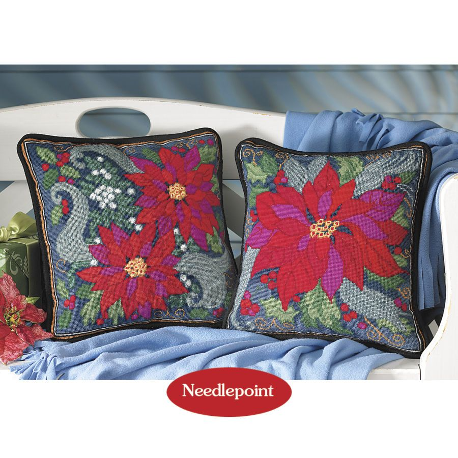 Poinsettia Needlepoint Pillow Top Kits - Cross Stitch, Needlepoint, Embroidery Kits – Tools and Supplies