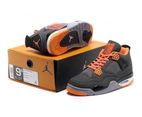 Fake Nike Air Jordan 4 Grey Orange Mens Basketball Shoes 84 Dol ...