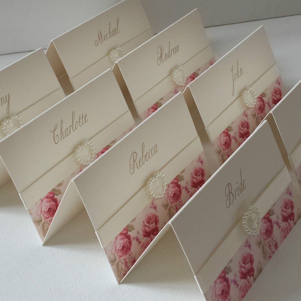 VINTAGE PINK ROSE PERSONALISED PEARL HEART WEDDING RECEPTION NAME PLACE CARDS